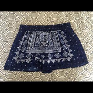 Blue aztec print shorts